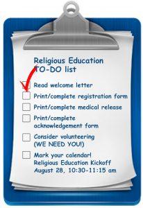 religious education registration checklist